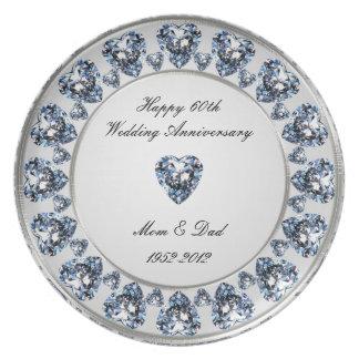 Plato 60.o Placa de la melamina del aniversario de boda