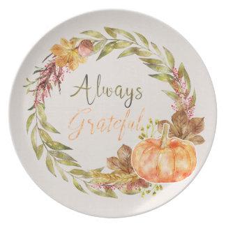 """Plato Acción de gracias - """"siempre agradecido"""" -"""