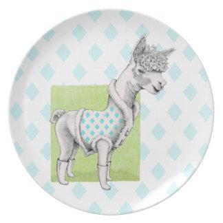 Plato Alpaca en la placa verde de la melamina