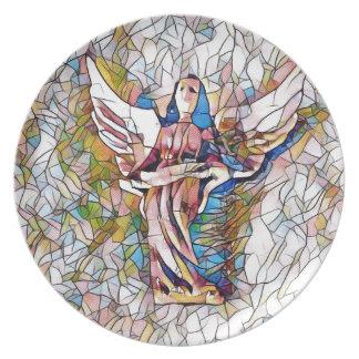 Plato Ángel de guarda bonito del vitral