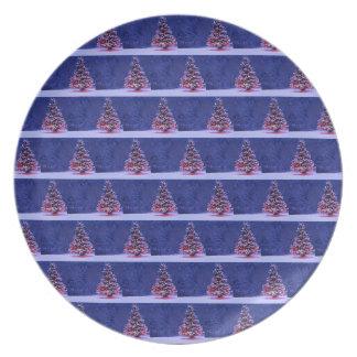 Plato Árbol de navidad nevado