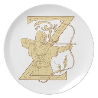 Plato Archer medieval que apunta drenaje de la letra Z