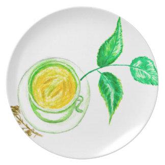 Plato Arte del té verde