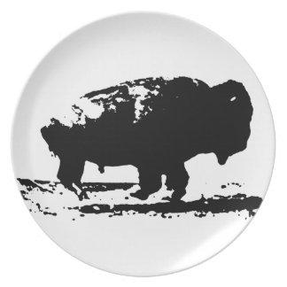 Plato Arte pop corriente del bisonte del búfalo