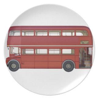 Plato Autobús del rojo del autobús de dos pisos