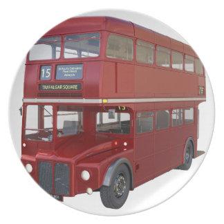 Plato Autobús rojo del autobús de dos pisos en perfil