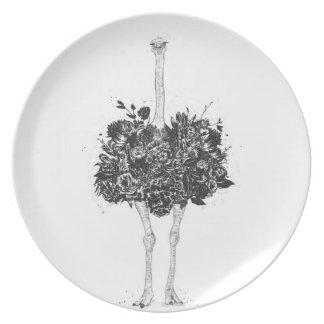 Plato Avestruz floral