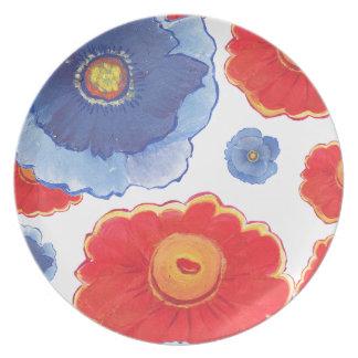 Plato Azul y papel pintado de Red_Floral