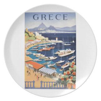 Plato Bahía 1955 de Grecia Atenas del poster del viaje