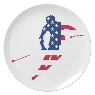 Plato Bandera de los E.E.U.U. del americano de esquí de