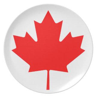 Plato Bandera nacional del mundo de Canadá