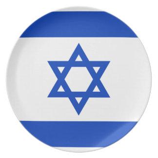 Plato Bandera nacional del mundo de Israel