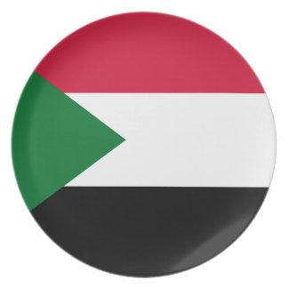 Plato Bandera nacional del mundo de Sudán