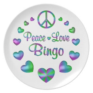 Plato Bingo del amor de la paz
