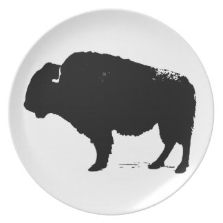 Plato Bisonte negro y blanco del búfalo del arte pop