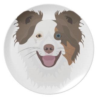 Plato Border collie feliz de la cara de los perros del