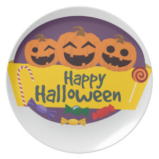 Plato Calabaza del feliz Halloween