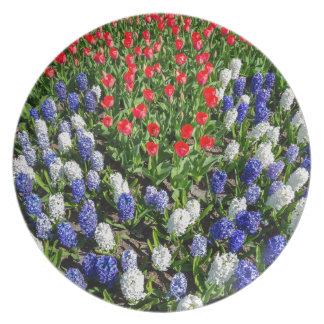 Plato Campo de flores con los tulipanes azules y los