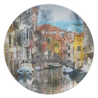 Plato Canales de la acuarela de Venecia Italia