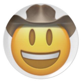 Plato Cara del emoji del vaquero