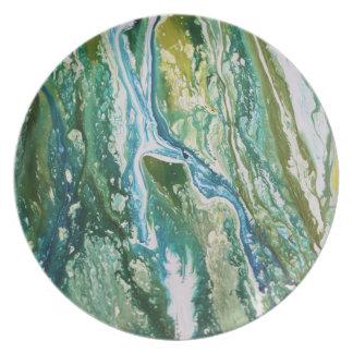 Plato Cascada azulverde abstracta colorida de la