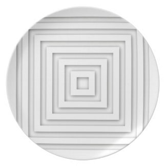 Plato Casilla blanca geométrica