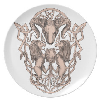 Plato Celtic Knotwo del escudo de armas del árbol del