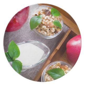 Plato Cereal con las nueces y pasas, yogur y manzanas