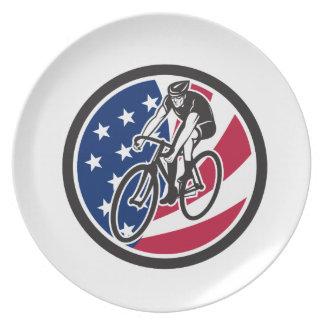 Plato Ciclista americano que completa un ciclo el icono