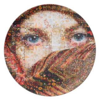 Plato Collage-ojo-chica beduino del chica-ojo del