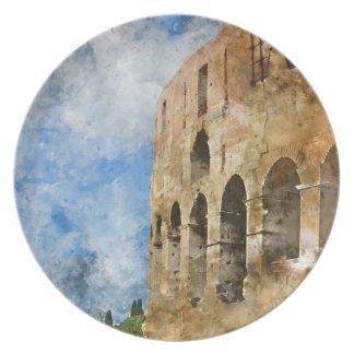 Plato Colosseum antiguo en Roma Italia