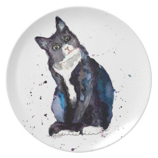 Plato con gato handgemaltem viejo con acuerdo de