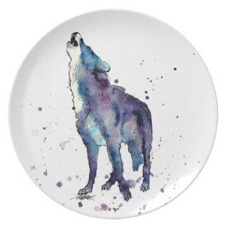 Plato con lobo handgemaltem viejo con acuerdo de