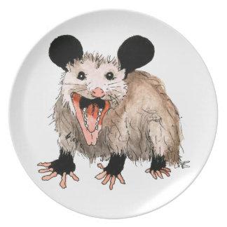 Plato con Opossum handgemaltem viejo con acuerdo