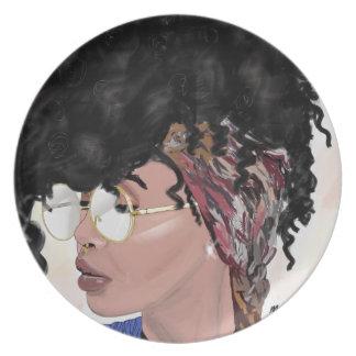 Plato consiga a chica negro flojo el pelo natural mágico