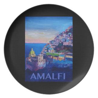 Plato Costa retra Italia de Amalfi del poster