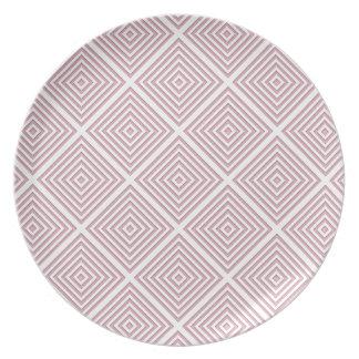 Plato Cuadrados geométricos rosados