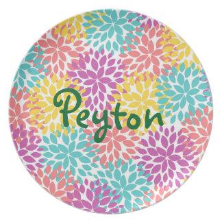 Plato Dalias coloridas - personalizadas con el nombre