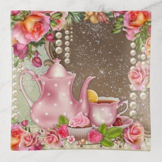 Plato de la baratija del tema del té de la mujer