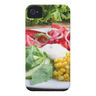 Plato de los tomates, campana-pimienta, queso de funda para iPhone 4
