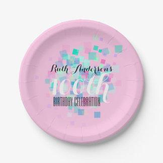 Plato De Papel 100a placa rosada de la fiesta de cumpleaños de