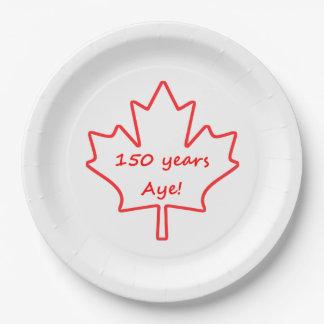 Plato De Papel 150 años de Canadá