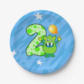 Plato De Papel 2do Monstruo verde del cumpleaños