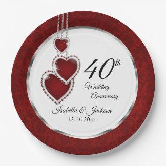 Plato De Papel 40.o, 52.o o 80.o aniversario de boda de rubíes