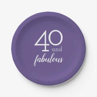 Plato De Papel 40 y placas de papel violetas fabulosas de la