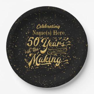 Plato De Papel 50 años en la fabricación - cumpleaños o