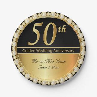 Plato De Papel 50.o Aniversario de boda de oro