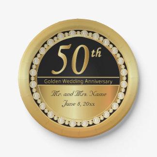 Plato De Papel 50.o aniversario de boda de oro hermoso
