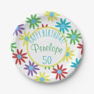 Plato De Papel 50.o Floral del cumpleaños personalizado