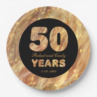 Plato De Papel 50.o Luces del fiesta del oro del aniversario de